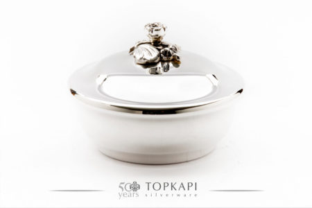 Classic 14 cm silver plated round candy box