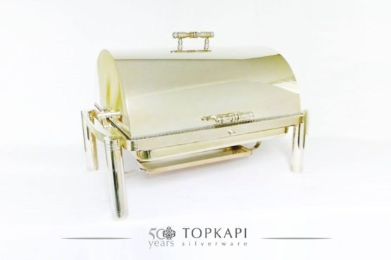 Rectangular revolving silver plated chafing dish