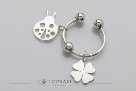 'Clover & Ladybug' silver plated key ring