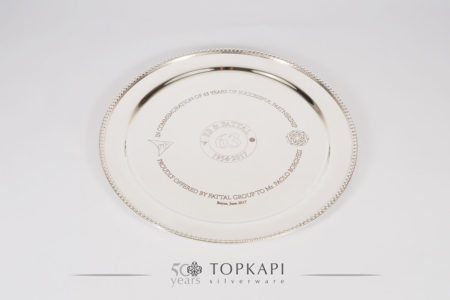 Silver plated 30 cm engraved award plate with refined border design and velvet box