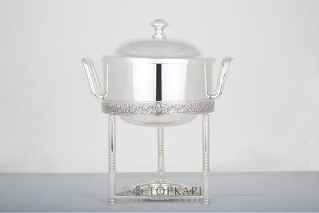 Round sauce chafing dish with pressed border design
