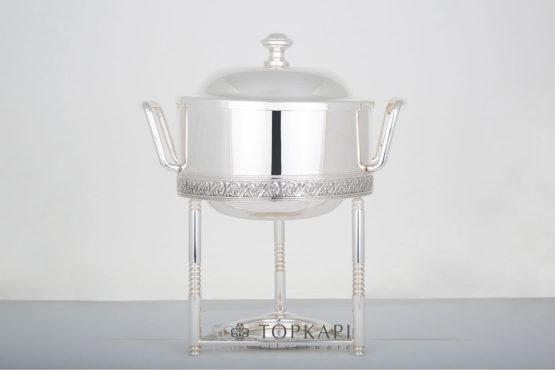 Topkapi-Round sauce chafing dish with pressed border design