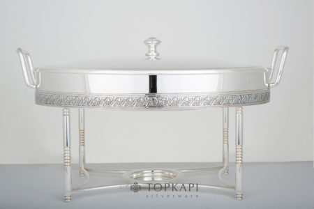 Oval chafing dish with pressed border design