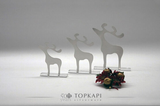 Silver plated deer Christmas decorative stand
