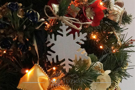 Silver plated snowflake Christmas tree ornament