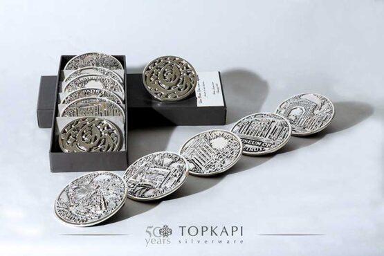 Topkapi-Set of 6 silver plated souvenir coasters from Lebanon