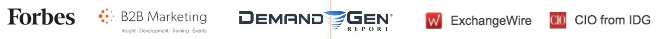 Logos for Forbes, B2B Marketing, Demand Gen, ExchangeWire, CIO from IDG