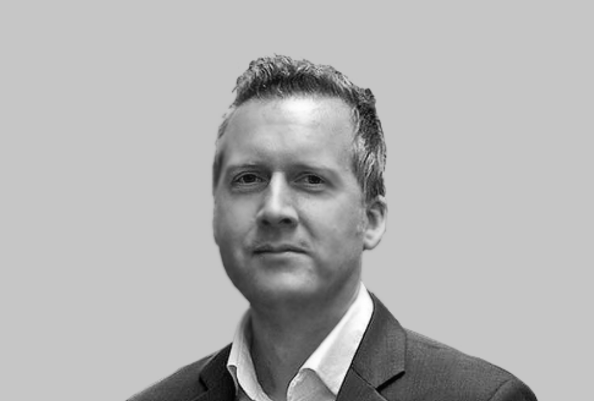 Black and white photo of Pete Markey, TSB CMO
