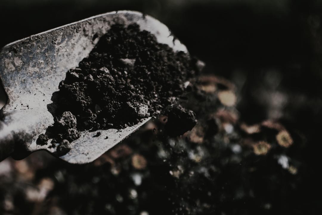 A person shovelling soil