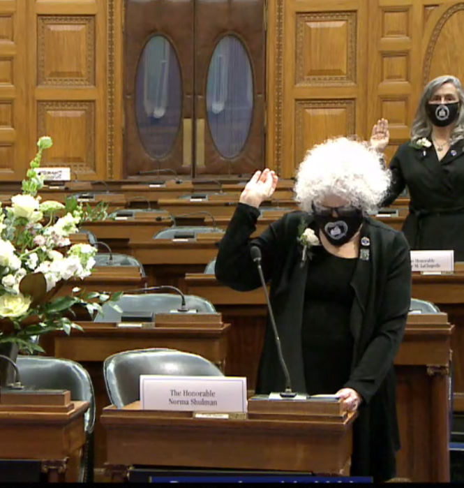 Norma Shulman is sworn in