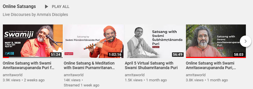 Amma's Senior Disciples Online Satsangs YouTube Channel Playlist