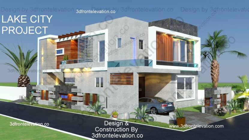10 Marla Corner House Plan & 3D Elevation