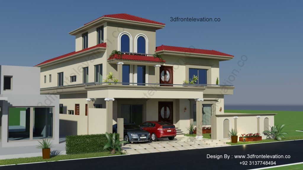 The Best 1 Kanal House Plan with Spanish Exterior Design