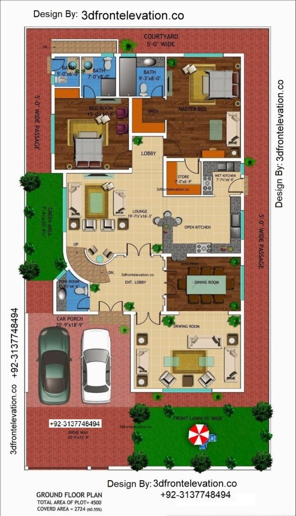 1 kanal house drawing , floor plans , layout with Basement in DHA , Lahore