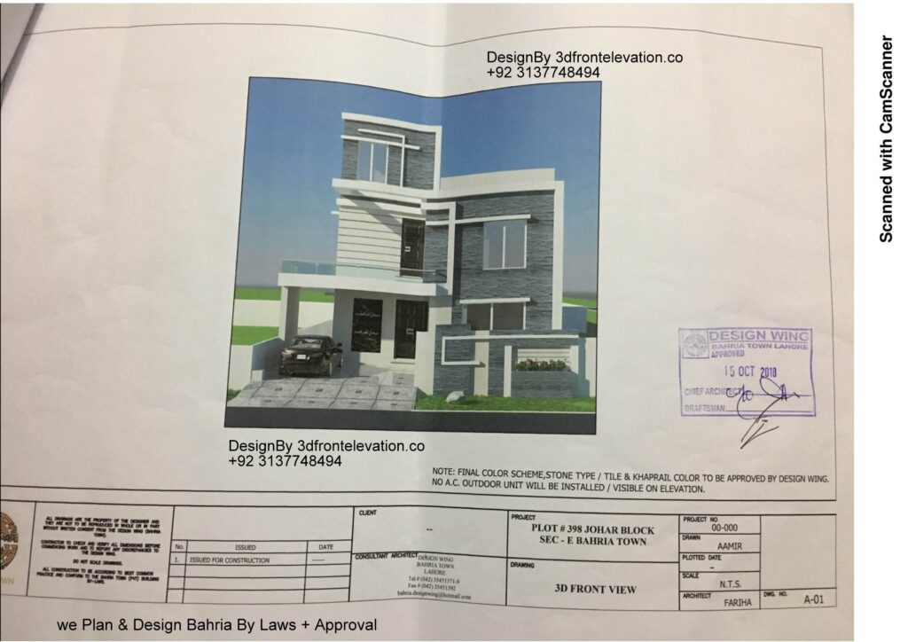 3d front elevation Bahria Town with Approval Proof