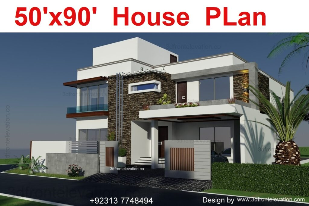 500 Square Yards House Plan with Design Elevation