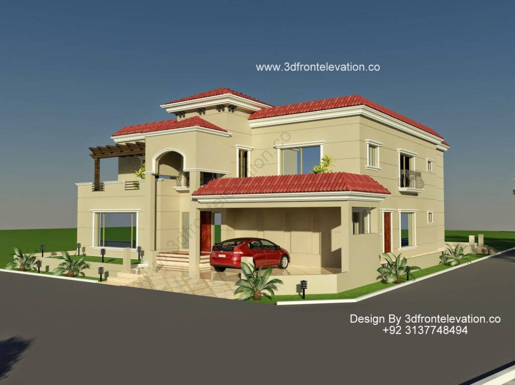 Spanish 3D Front Elevation