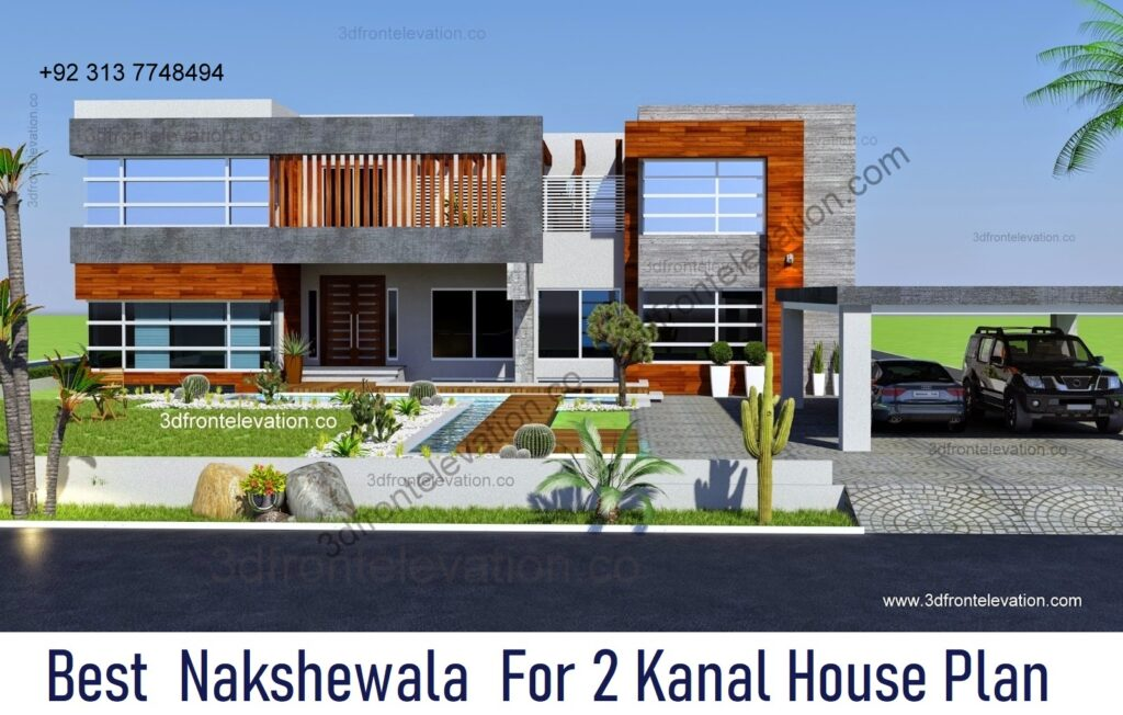 Hire Best Nakshewala For 2 Kanal House Plan & 3D Exterior
