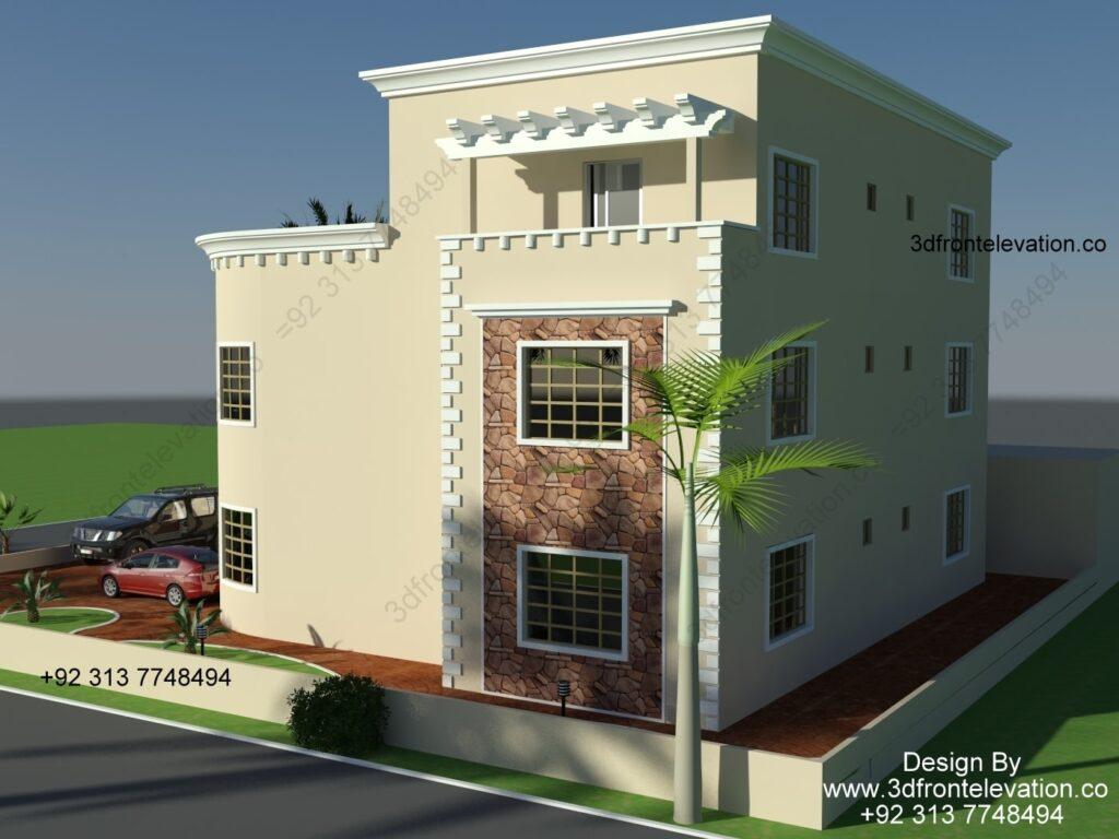 Villa Plan & Facade Exterior