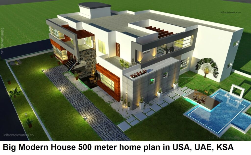 500 Square Meter Modern Contemporary House Plan  USA, KSA, UAE,