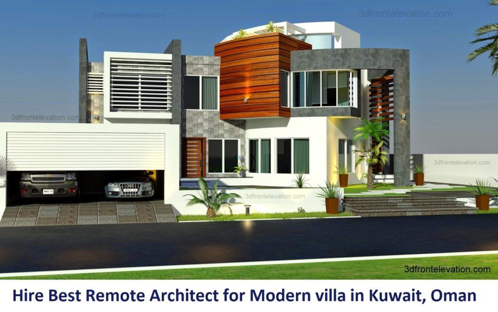 Hire Best Online / Remote Architect for Modern villa in Kuwait, Saudi Arabia, UAE, Oman, Bahrain, Qatar, Dubai, Pakistan