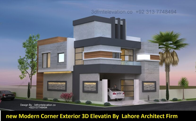 New Corner Exterior 3d elevation by Lahore architects firm