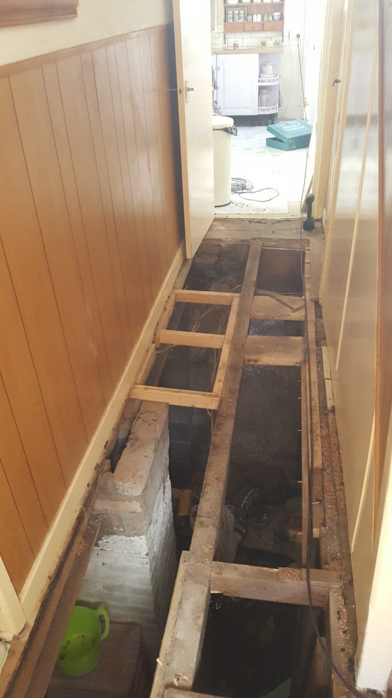 old joists prior to repair