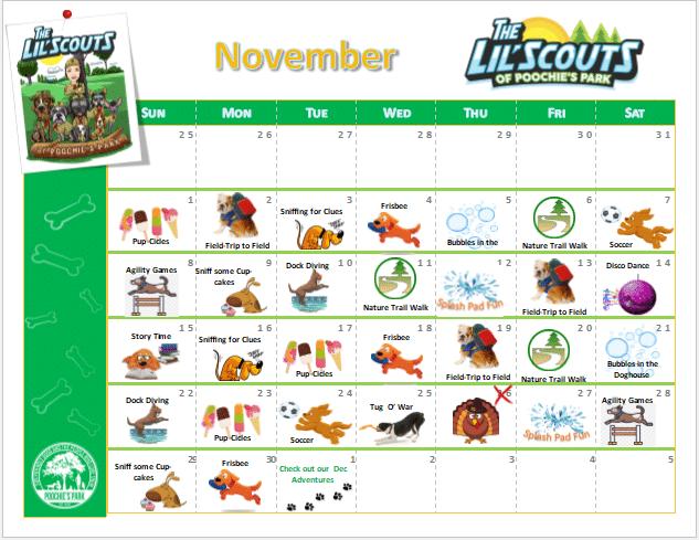 November Lil Scouts Calendar