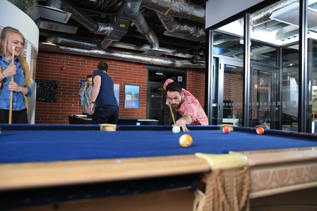 pool table in a break out are at bluehost web hosting.
