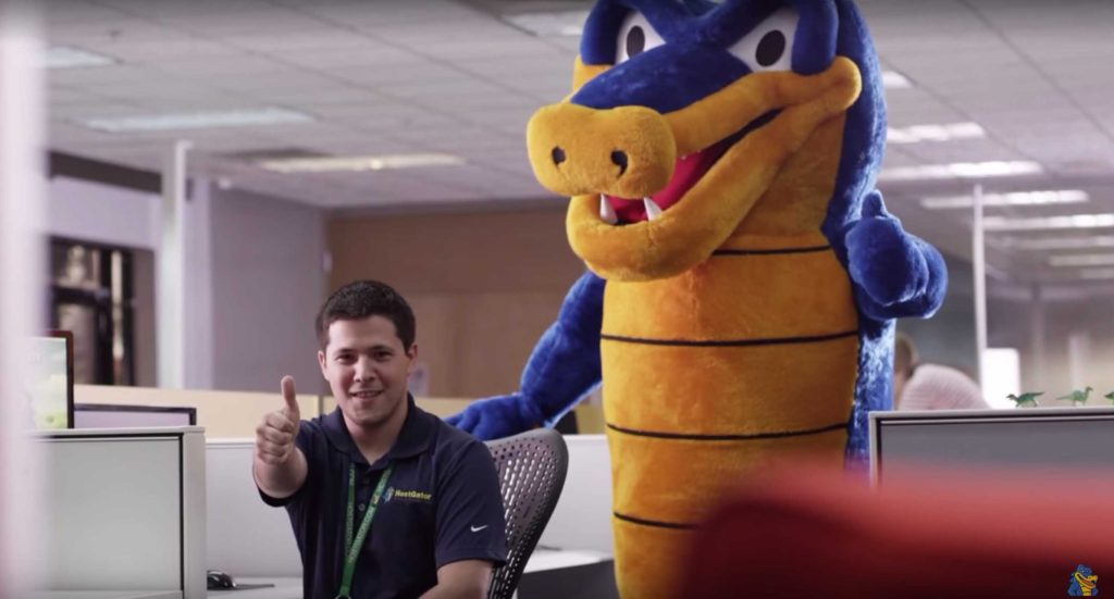 HostGator and an employee at their offices.