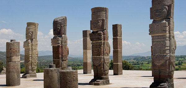 Rovine del tempio Toltec a Tula, Messico