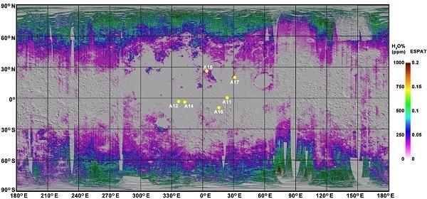 mappa acqua sulla luna
