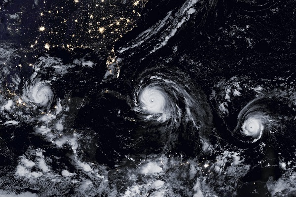 Irma, Jose e Katia i 3 uragani atlantici visti dallo spazio.