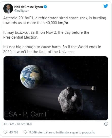 twitt asteroide
