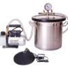 18L Stainless Steel Vacuum Chamber, Pump & Heat Mat Kit