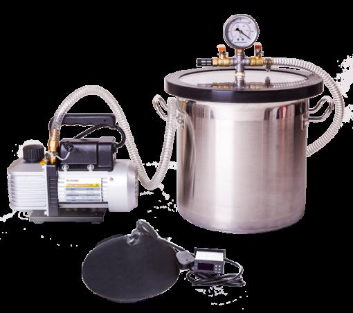 18L Stainless Steel Vacuum Chamber, Pump & Heat Mat Kit