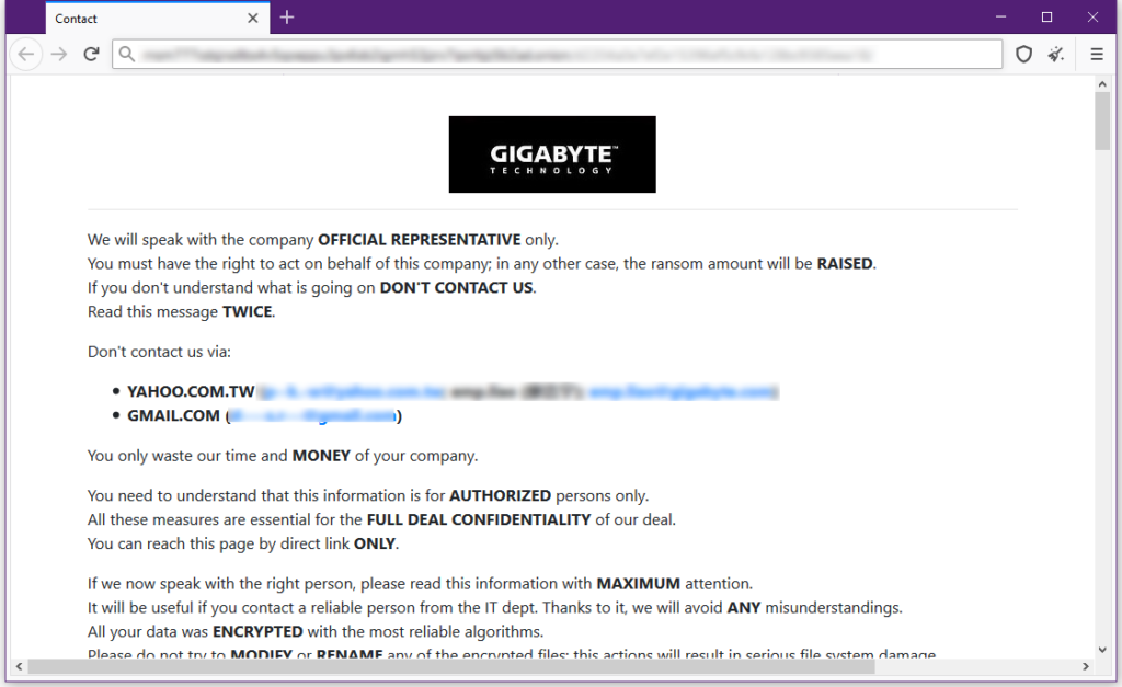 Private leak page for GIGABYTE