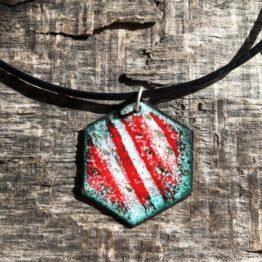 Chilli Designs Red White Enamel Pendant 1