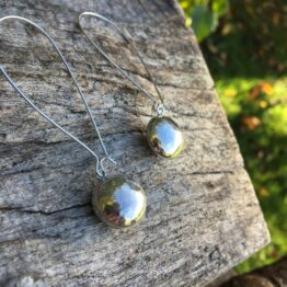 Chilli Designs long hammered ball drop earrings