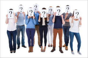 Group of people with question marks