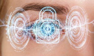 A woman's digital eye during scanning security process
