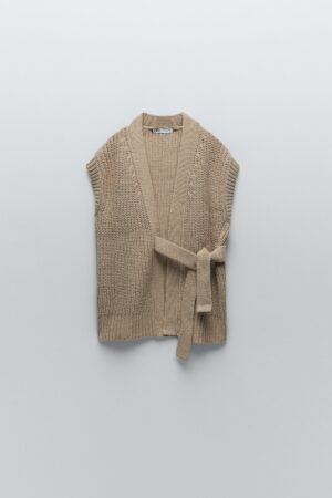 KNITTED WAISTCOAT WITH BELT