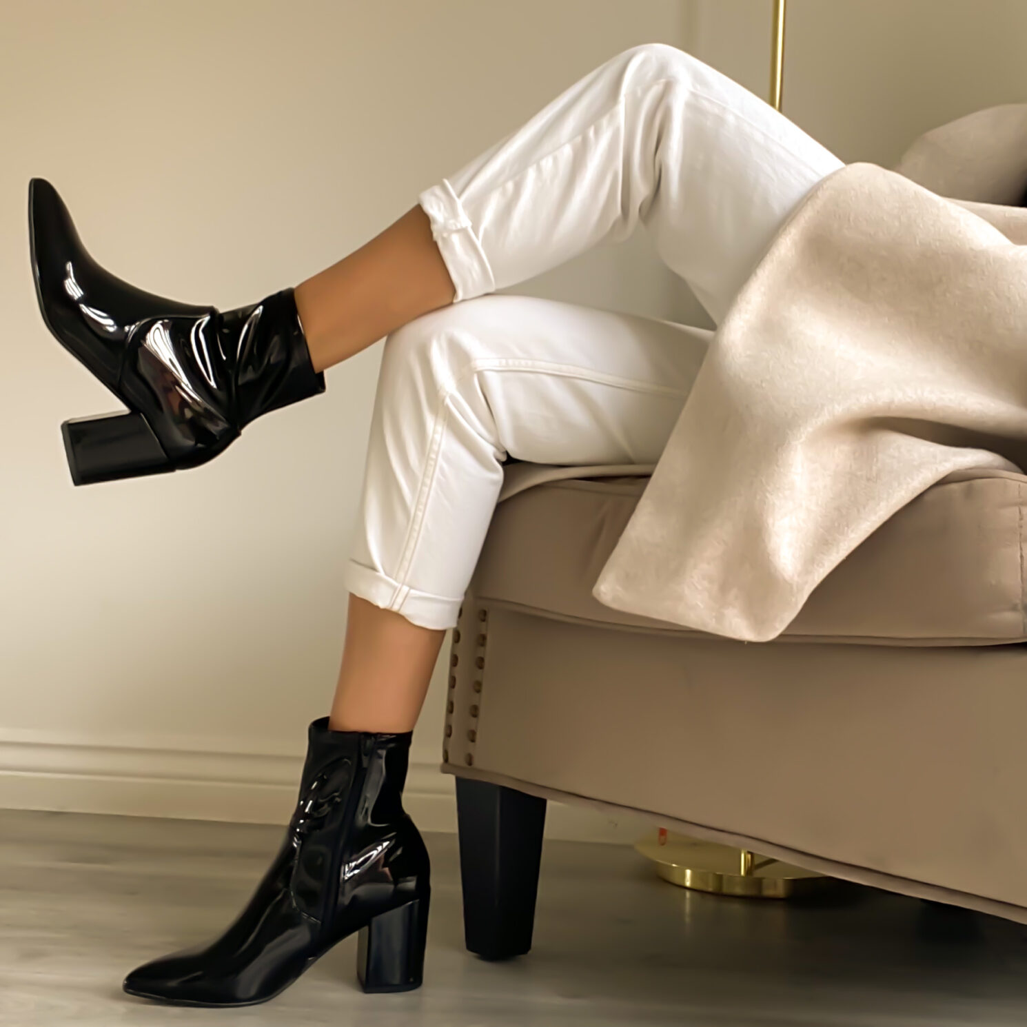 Shop the look – Patent sock boots