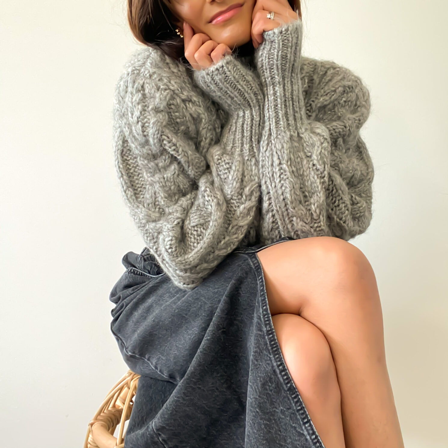 The best cropped cable knit jumper