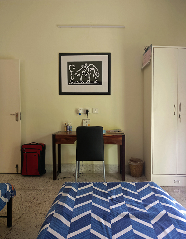 Every room is equipped with a work desk, not to mention some art. The art work above is by Nandalal Bose, a master of the Bengal school, taken from the illustrations he made for the children's books written by Tagore titled Sahaj Paath (Easy Reader).