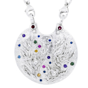Medallion In Silver With Sapphires