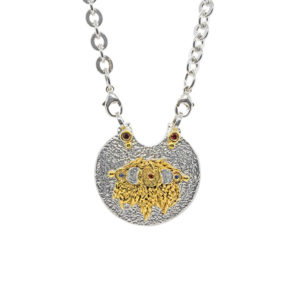 "Viaggio Medallion In Silver With Sapphires And Gold ""Playa"" Highlights"