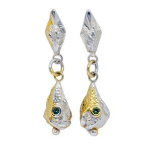 Lantern Green Sapphire Drop Earrings