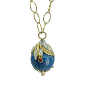 Lapis Lazuli & Sapphire Gold Vermeil Gem Globo