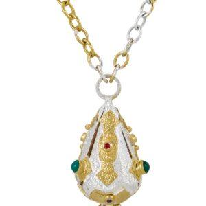 Geo Lantern Silver, Sapphire & Gold Vermeil Necklace